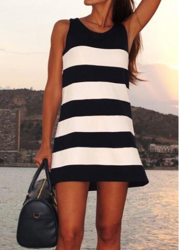 Buy online Sleeveless Round Neck White and Black Dress