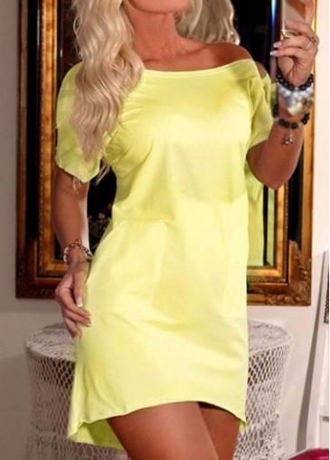Buy online Wing Print Short sleeve Asymmetric Hem Yellow Dress