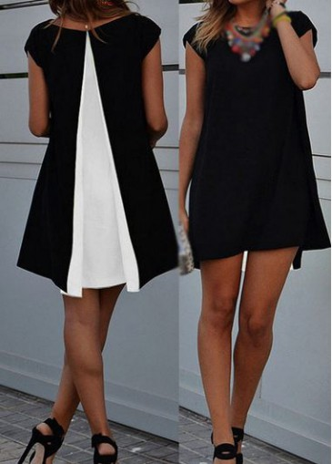 Buy online Cap Sleeve Round Neck Asymmetric Hem Straight Dress