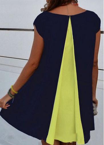 Buy online Asymmetric Hem Round Neck Cap Sleeve Shift Dress