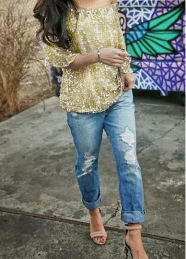 Buy online Half Sleeve Sequins Decorated Gold T Shirt