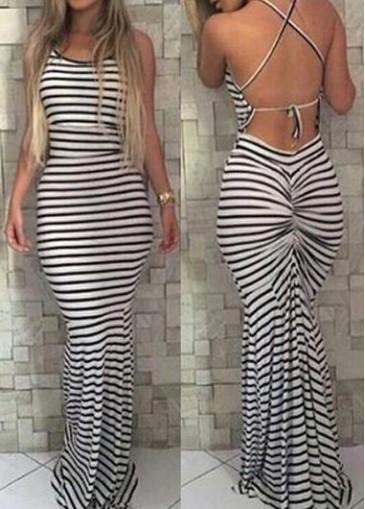 Buy online Sleeveless Criss Cross Back Mermaid Dress