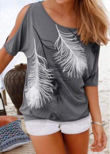 Buy online Cutout Shoulder Feather Print Grey T Shirt