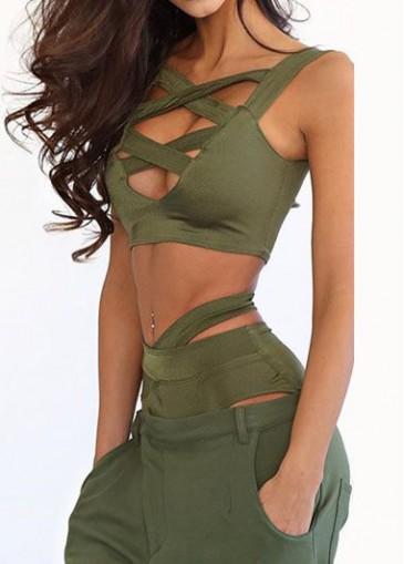 Buy online Army Green Criss Cross Front Two Piece Swimwear