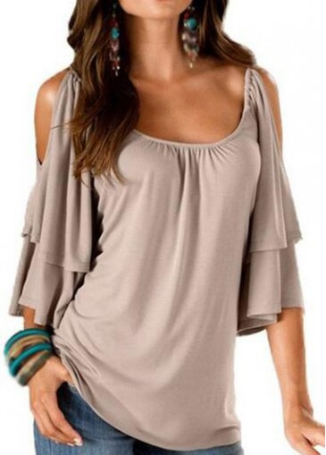 Buy online Round Neck Cold Shoulder Apricot T Shirt