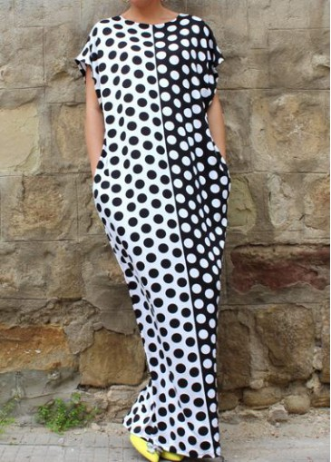 Buy online Black and White Dot Print Dress