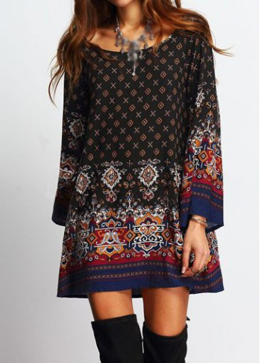 Buy online Black Tribal Print Long Sleeve Dress