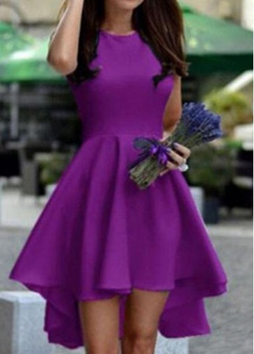 Buy online Purple Round Neck Sleeveless High Low Dress