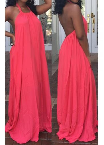 Buy online Open Back Sleeveless Red Maxi Dress