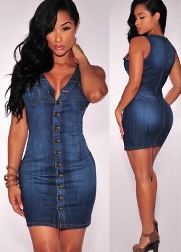 Buy online Navy Blue Sleeveless V Neck Sheath Dress