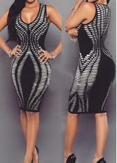 Sleeveless Printed Black Round Neck Sheath Dress