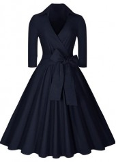 Navy Blue Three Quarter Sleeve Dress