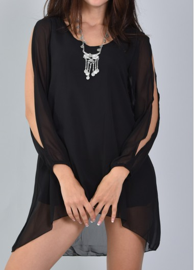 Black V Neck Lantern Sleeve Short Chiffon Dress