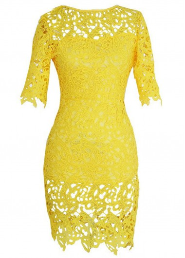 Yellow Lace Crochet Short Sleeve Slim Fit Dress