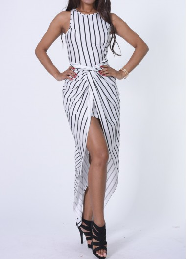 Asymmetric Hem Sleeveless Twisted Front DressPrint Dresses<br><br><br>color: White<br>size: S,M,L,XL,XXL