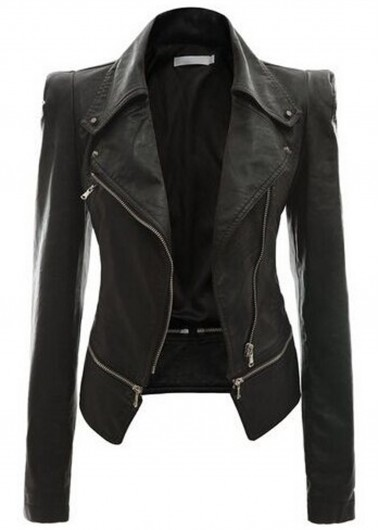 Black Long Sleeve Zipper Closure Jacket
