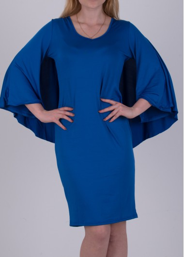 Cutout Back Royal Blue Knee Length Dress