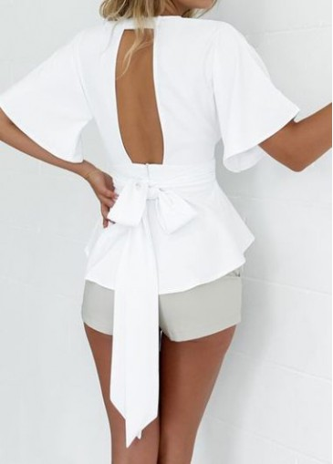 Buy online Cutout Design Plunging Neckline White Blouse