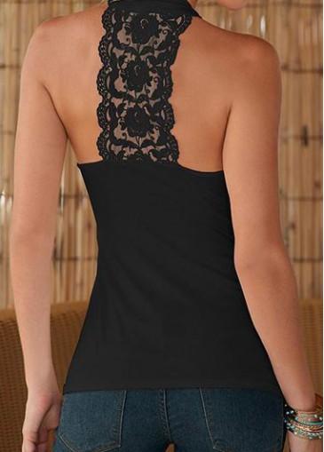 Buy online Lace Panel V Neck Sleeveless Black Blouse