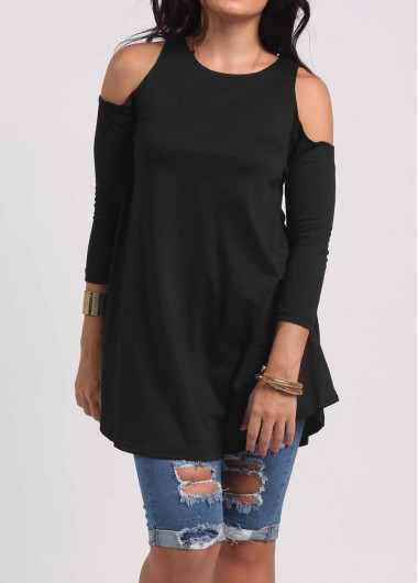 Cold Shoulder Round Neck Black Blouse