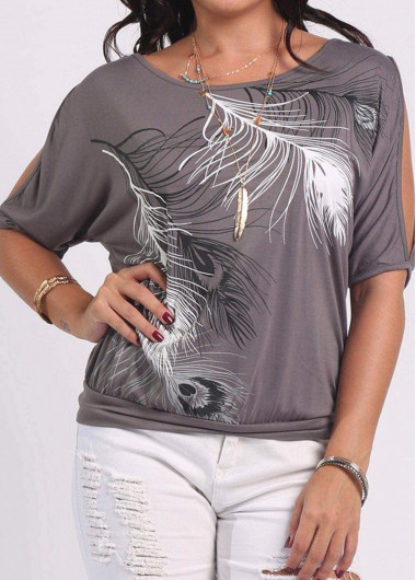 Cutout Shoulder Feather Print Grey T ShirtTees &amp; T-shirts<br><br><br>color: Grey<br>size: S,M,L,XL,XXL,XXXL