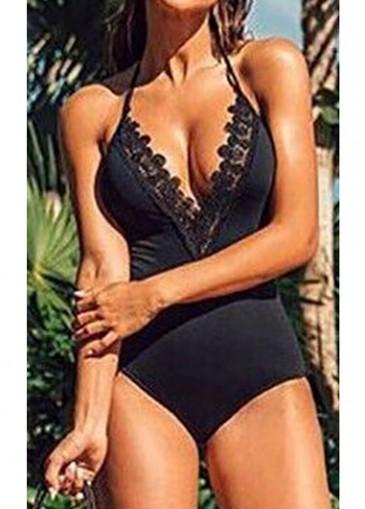 Buy online Black Lace Panel One Piece Swimwear