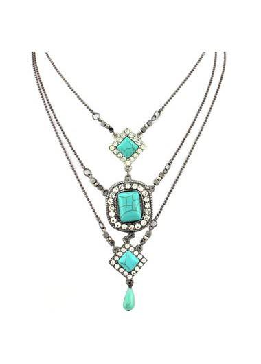 Rhinestone Decorated Metal Layered Chain NecklaceNecklaces &amp; Pendants<br><br><br>color: Cyan<br>size: One Size
