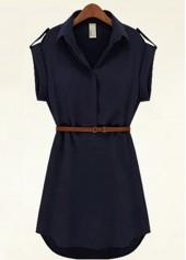 Navy Blue Belted Shirt Chiffon Dress