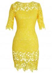 Yellow Lace Crochet Short Sleeve Slim Fit Dress