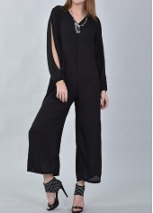 V Neck Slit Sleeve Black Loose Jumpsuit