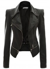 Black Long Sleeve Zipper Closure Jacket