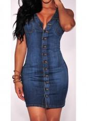 Navy Blue Sleeveless Button Closure Sheath Dress
