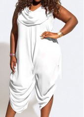 White Cowl Neck Sleeveless Loose Jumpsuit