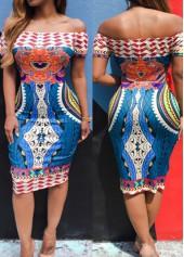 Printed Off the Shoulder Blue Knee Length Dress