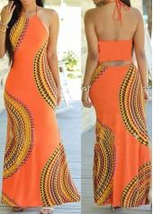 Sleeveless Open Back Printed Maxi Dress