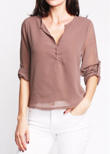 Coffee V Neck Button Design Asymmetric Hem Blouse