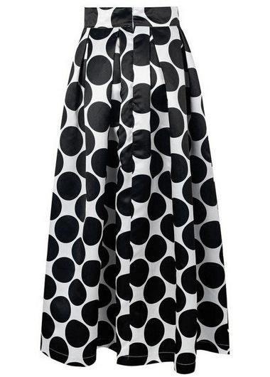 Dot Print Pleated Black Maxi Skirt