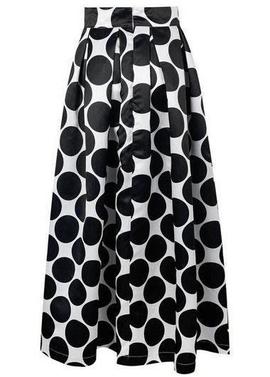 Dot Print Pleated Black Maxi Skirt