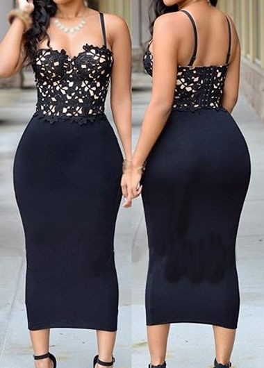 Open Back Lace Panel Black Dress