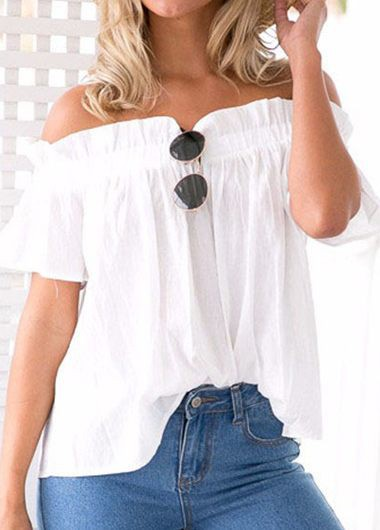 Off the Shoulder Ruffled White Blouse