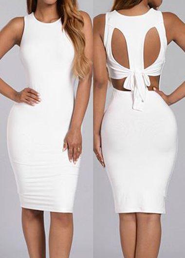 Cutout Design Solid White Sheath Dress
