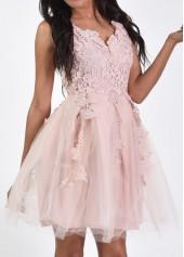 Lace Panel Sleeveless V Neck Gauze Dress