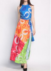 Color Block High Waist Sleeveless Maxi Dress