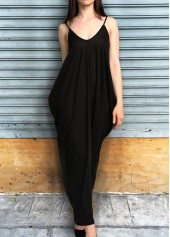 Spaghetti Strap Pocket Design Maxi Dress