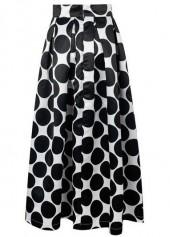 wholesale Dot Print Pleated Black Maxi Skirt