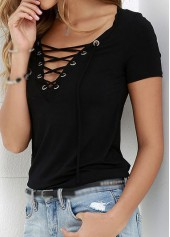 Short Sleeve Lace Up Black T Shirt