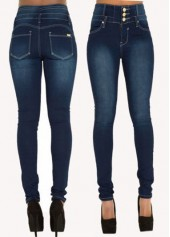Pocket Design High Waist Zipper Closure Jeans