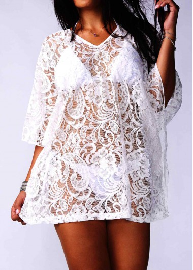 See Through Batwing Sleeve White Lace Cover UpSwimwear<br><br><br>color: White<br>size: One Size