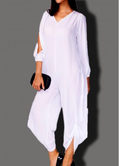 V Neck Long Slit Sleeve White Jumpsuit