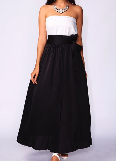 Pocket Design Black Belt Design Maxi Skirt